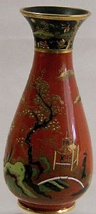 W&R Carlton Ware 'Temple without Temple'' Vase in Red & Black Decoration - 1920s - SOLD